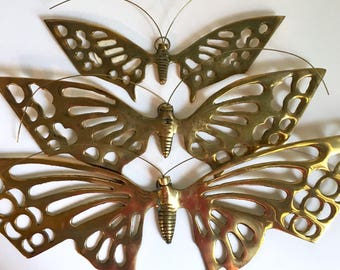 3 Solid Brass Butterfly Wall Hangings // Brass Butterfly Wall Decor // 1980's