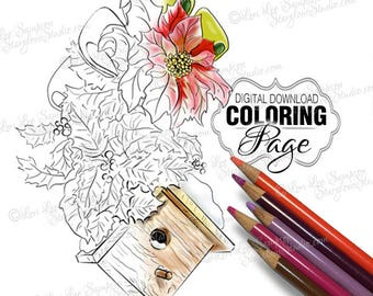 Christmas Coloring Page: Adult Coloring Page Printable Download, Christmas Flowers Poinsettias with Birdhouse (Winter Birdhouse)
