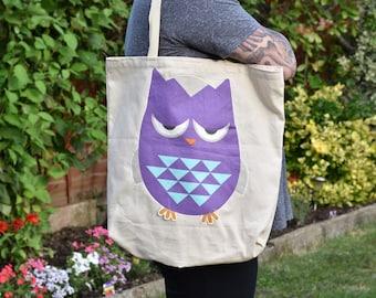 Angry Aiden Tote Bag, Owl Shopping Tote Bag, British Wildlife, Cotton Shopping Bag, Owl Bag, Eco Bag, Eco Tote, Project Bag, Book Bag