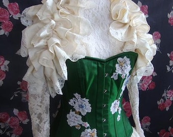Bridal ANTIQUED SILK Ruffle Opera Shrug  Bridal Steampunk Wedding Lolita  By Ophelias Folly