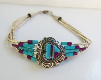 """Native American - Signed - Multi Strand Liquid Silver with Heart and Multi Stone Channel Inlay Bracelet - 7 1/2""""    2252"""