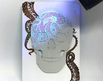 Original Inktober 'Underwater' Cut Paper Skull UV Ink Artist's Trading Card