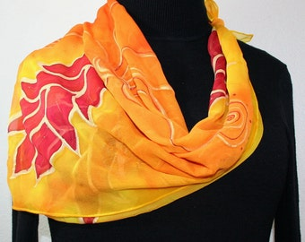 Yellow, Orange Hand Painted Silk Shawl. Chiffon Handmade Silk Scarf FIRE FLOWERS-2. Birthday Gift. Gift-Wrapped. Offered in 2 SIZES