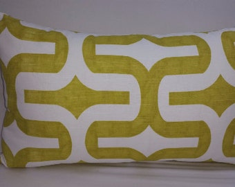 Embrace, large print, cotton toss pillow 18 x 12 lumbar, citrine green and white