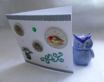 Card any occasion, square, gift and flower