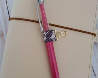 Frenchie Planner Pen Holder / Binder Clip Pen Holder / Travelers Notebook Pen Holder / Happy Planner Pen Holder / Elastic Pen Loop