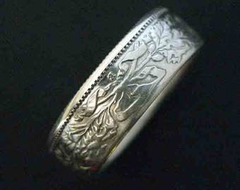 Hand Forged Double Sided Silver (83.5%) Coin Ring - Swiss 2 Franc