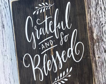 Grateful and so Blessed | home decor | farmhouse style sign | wood sign | wall art | Style# HM210