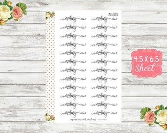 Meeting Planner Stickers - Script Stickers - Planner Stickers - Cursive Stickers - Bullet Journal - BUJO Sticker - Header - S103