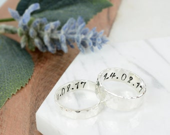 Sterling Silver Matching Hammered Ring Set   Silver Handstamped Couples Wedding Ring Set   Handmade Personalised His and Hers Rings