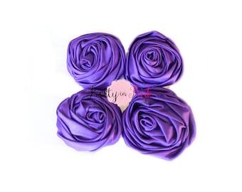 Purple Satin TWISTED Rosettes- You Choose Quantity- Rolled Rosettes- Rolled Rosettes- PrettyinPinkSupply- DIY Supply Shop