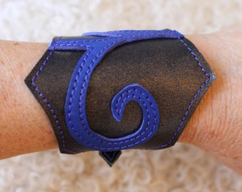 wide leather strap grey and blue; leather strap. Bracelet elven leather; fairy bracelet