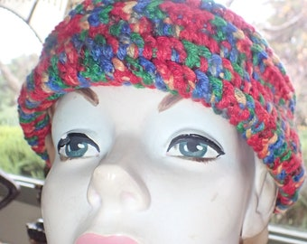 Multicolor Ribbed Crochet Beanie/Skullcap In Cheerful Reds, Blues, Greens and Yellows To Warm your WInter Days