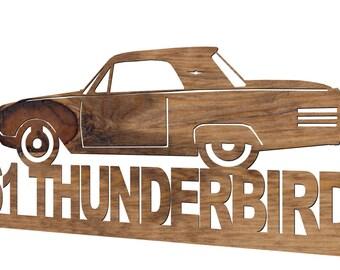 1961 Ford Thunderbird Handmade Wooden Decorative Plaque