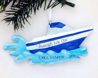 Motorboat Personalized Christmas Ornament / Blue or Red / Boat / Speedboat / Beach / Lake / Personalized Name or Message