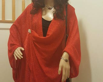 Red batwing blouse