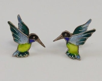 Sterling Silver 925 Enameled Hummingbird Earrings