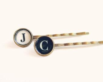 Judith - Typewriter Key Bobby Pin Set -  Antique Brass - Monogram Hair Clip