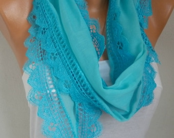 Turquoise Cotton Scarf, Easter, Necklace Cowl Gift Ideas For Her Women Fashion Accessories