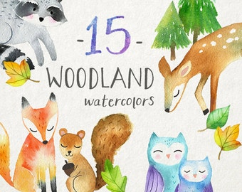 Watercolor Woodland Animals Clipart | Forest Animals Clip Art - Baby Fox, Deer, Owl, Squirrel, Raccoon - Instant Download PNG File