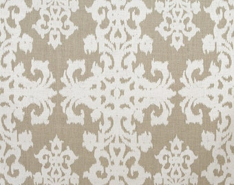 Linen Fabric By the yard Ikat Ivory on Natural