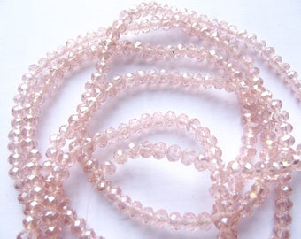 New! 80 pale pink faceted Crystal rondelle 3 x 4 mm ZUI-136