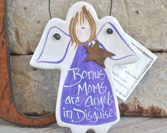 Bonus Mom Gift Salt Dough Ornament, Gift for Mom, Step Mom Birthday, Mother in Law Gift