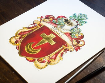 "Custom Art Print - 8"" x 10"" Custom Family Crest / Custom Coat of Arms Original Heraldry Art with Gold Leaf - Download and Gilded PRINT"