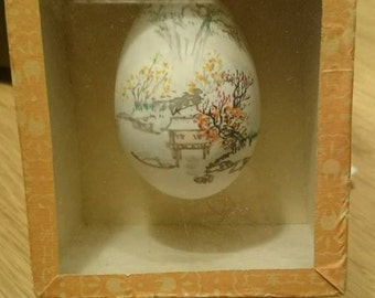 Vintage Hand Painted Chinese Egg  In Glass Case