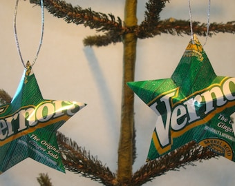 Recycled Vernor's Ginger Ale Soda Can Aluminum Stars - Set of 2 Christmas Ornaments
