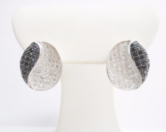 Sterling Silver Black & White Cubic Zirconia Pave Set Oval Earrings #2995