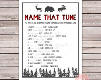 Name that Tune Instant Download - Printable Game - Baby Shower / Sprinkle Activity - Woodland Theme