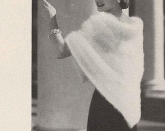 Frosted Wings • 1950s Crochet Wedding Bridal Engagement Angora Shawl Wrap Sweater • 50s Vintage Pattern • Retro Crocheting Digital PDF