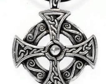Pewter Solar Cross Celtic Druid Irish Pagan Pendant on Leather or Cotton Necklace  (25B)