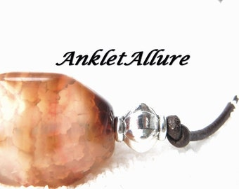 CHOCOLATE LEATHER Anklet Beach Ankle Bracelet Stone Agate Anklets for Women GUARANTEED