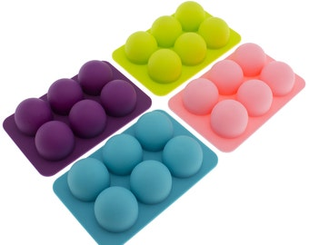 Freshware CB-650 Silicone 6-Cavity Round Chocolate Truffle, Candy, Gummy and Clay Mold, Pack of 4, BPA Free