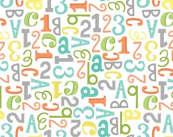 Jungle Jubilee - White Alphabet FLANNEL by Arrolyn Weiderhold from Wilmington Prints