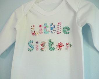 Little sister sleepsuit - Little sister babygro - new baby girl gift - baby girls clothes