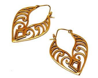 Tribal Earrings, Brass Maori Earrings, Brass Earrings, Brass Leaf Earrings, Ethnic Earrings, Large Earrings, Drop Earrings, Tribal Jewelry