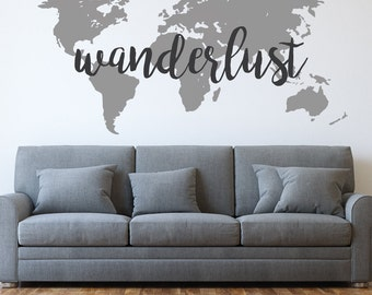 World map wall decal travel wall decor map wall sticker wanderlust world map wanderlust decal world map decal travel wall decals gumiabroncs Images