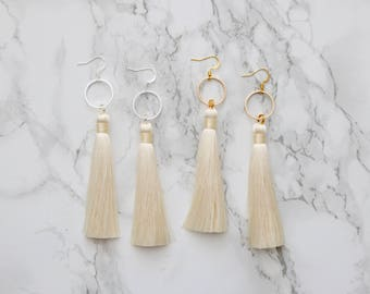 Silk Tassel Earring - Cream Tassel - Fashion Earrings - Statement Earrings - Boho Earrings - Fringe Earrings - Festival Earrings