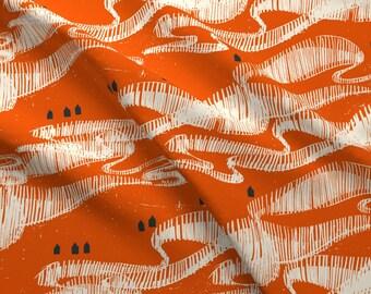 Scandi Orange Aurora Borealis Design Challenge Fabric - Red North By Mariaspeyer - Mod Scandi Decor Design Challenge Fabric With Spoonflower