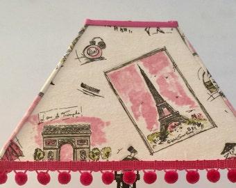 Paris decor, Paris lampshade, Drum lampshade for Paris Decor, French Decor, Paris Room Decor
