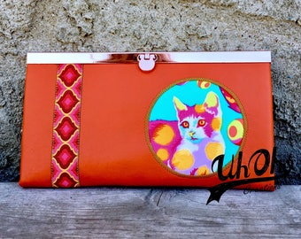 Flat Wallet featuring Tula Pink Tabby Road Fabric