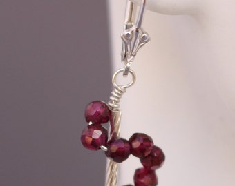 Garnet Swirl Wire-wrapped Earrings