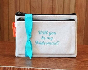 Set of 2 Cosmetic Bag Make Up Personalized Bridesmaid Gifts Monogram Monogrammed Wedding Bags