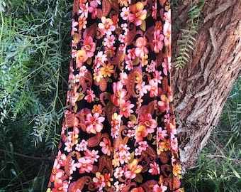 Vintage Floral Skirt | 1960's Floral Maxi Skirt | Vintage Festival Skirt | Long Lovely Vintage Skirt | Vintage Maxi Skirt