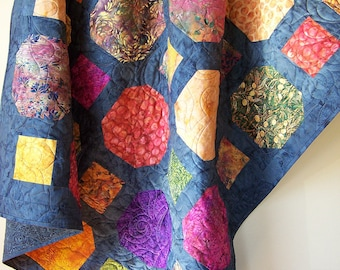 Batik Lap Quilt-Modern Lap Quilt-Batik Quilt-Handmade Quilt-Homemade Blanket-Throw Quilt-Patchwork Quilts-Fall Decor-Quilts For Sale