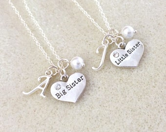 Set of two necklaces: big sister necklace and little sister necklace big sister gift little sister gift baby announcement new baby gift