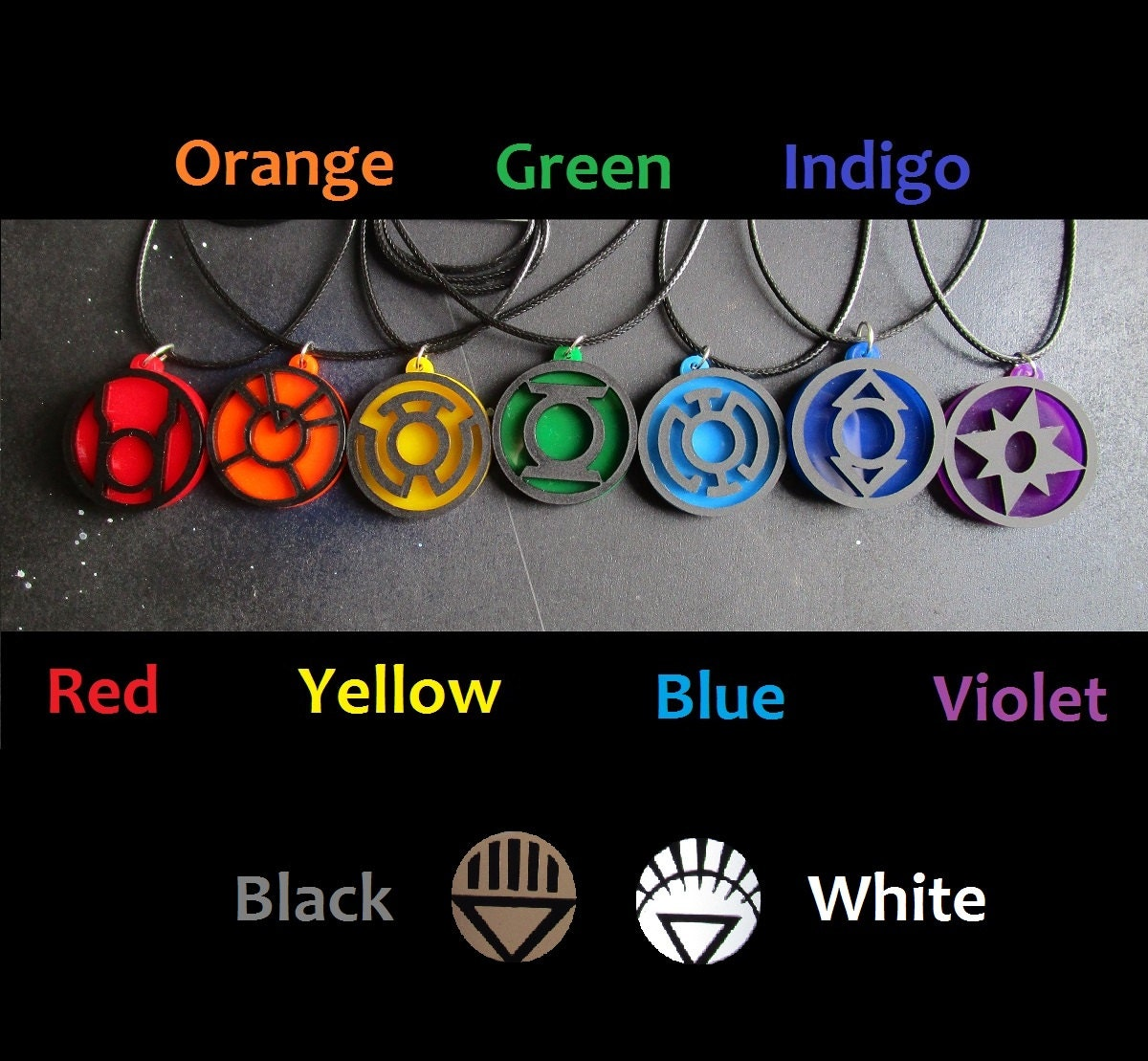 Lantern corps emotional spectrum pendant necklace green red zoom biocorpaavc Gallery